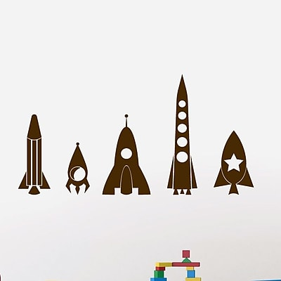 SweetumsWallDecals 5 Piece Rocket Ship Wall Decal Set; Brown