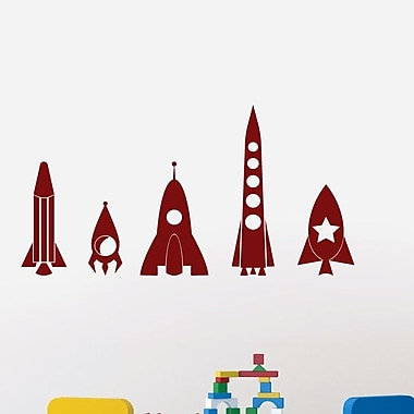 SweetumsWallDecals 5 Piece Rocket Ship Wall Decal Set; Cranberry
