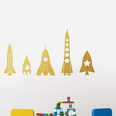 SweetumsWallDecals 5 Piece Rocket Ship Wall Decal Set; Gold