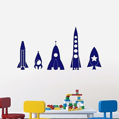 SweetumsWallDecals 5 Piece Rocket Ship Wall Decal Set; Navy