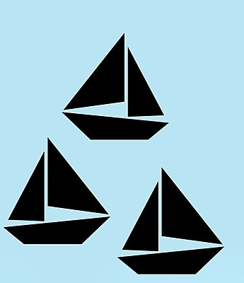 SweetumsWallDecals 3 Piece Sailboat Wall Decal Set; Black