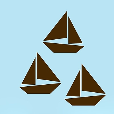 SweetumsWallDecals 3 Piece Sailboat Wall Decal Set; Brown