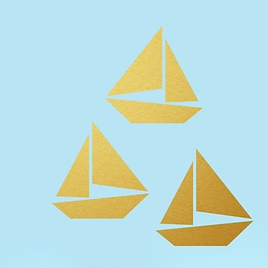 SweetumsWallDecals 3 Piece Sailboat Wall Decal Set; Gold