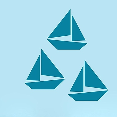 SweetumsWallDecals 3 Piece Sailboat Wall Decal Set; Teal