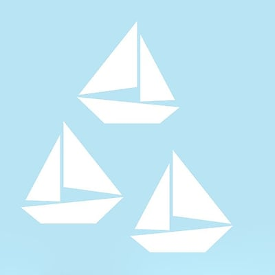 SweetumsWallDecals 3 Piece Sailboat Wall Decal Set; White