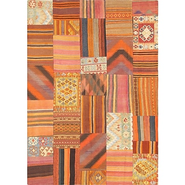 Pasargad Patchwork Hand-Knotted Orange Area Rug