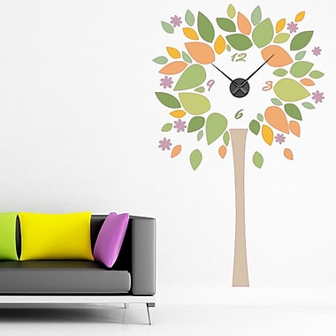 Style and Apply Tree Wall Clock Wall Decal; White