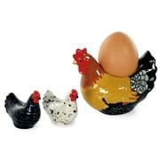 Boston International Spatter Hens 3 Piece Egg Cup, Salt and Pepper Set