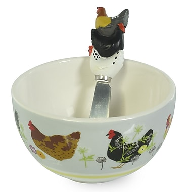 Boston International Spatter Hens Condiment Bowl and Spreader