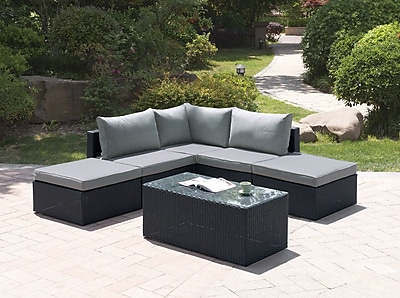 JB Patio 6 Piece Sectional Set w/ Cushions; Modern Black