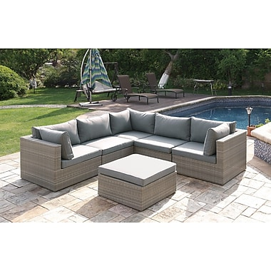 JB Patio Wicker 6 Piece Sectional Seating Group Set; Brown