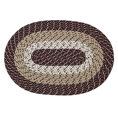 Better Trends Braided Stripe Brown/Taupe Area Rug; Rectangle 8' x 11'