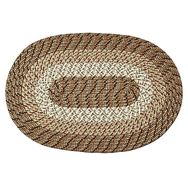 Better Trends Braided Stripe Taupe/Beige Area Rug; 5'4'' x 8'4''