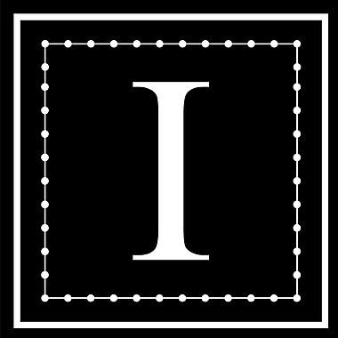 Enchantingly Elegant Monogram ''I'' Wall Decal; 22'' H x 22'' W x 1'' D