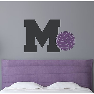 Enchantingly Elegant Monogram Letter ''M'' and Volleyball Wall Decal; 15'' H x 22'' W x 1'' D