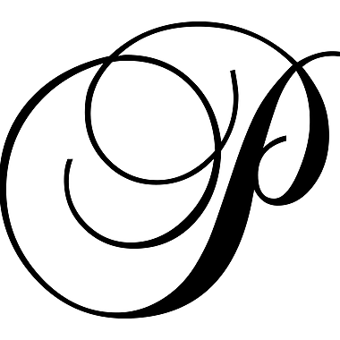 Enchantingly Elegant Letter ''P'' Wall Decal; 17'' H x 22'' W x 1'' D