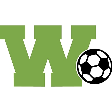 Enchantingly Elegant Monogram Letter ''W'' and Soccer Ball Wall Decal; 17'' H x 21'' W x 1'' D