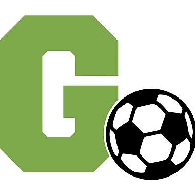Enchantingly Elegant Monogram Letter ''G'' and Soccer Ball Wall Decal; 22'' H x 30'' W x 1'' D