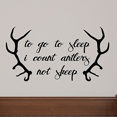 SweetumsWallDecals To Go to Sleep I Count Antlers Not Sheep Wall Decal; Black