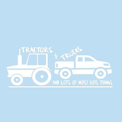 SweetumsWallDecals Tractors and Trucks Wall Decal; White