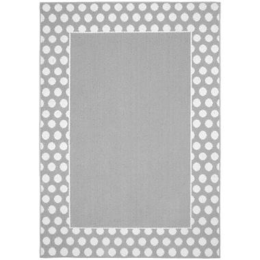 Garland Rug Polka Dot Frame Silver/White Area Rug; 5' x 7'