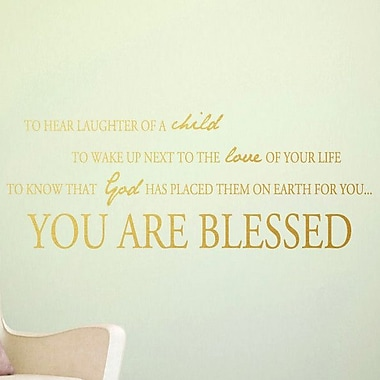 SweetumsWallDecals You Are Blessed Wall Decal; Gold
