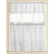 RT Designer's Collection Eden Macrame Kitchen Curtain; White