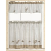 RT Designer's Collection Rustic Leaf Embroidered Kitchen Curtain