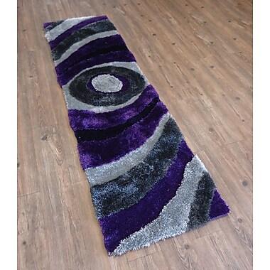 Rug Factory Plus Living Shag Hand-Tufted Gray/Purple Area Rug