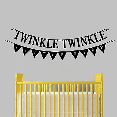 SweetumsWallDecals Twinkle Twinkle Little Star Banner Wall Decal; Black