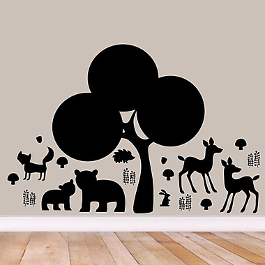 SweetumsWallDecals Woodland Forest Silhouette Wall Decal; Black