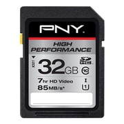 PNY® High Performance Class 10/UHS-I (U1) SDHC Memory Card, 32GB, Black (P-SDHC32GU185-GE)