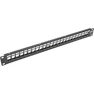 Tripp Lite 1U Rack-Mount Shielded Blank Keystone/Multimedia Patch Panel, Black (N062-024-KJ-SH)