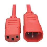 Tripp Lite 3' IEC-320-C13 to IEC-320-C14 Female/Male Heavy-Duty Power Extension Cord, Red (P005-003-ARD)