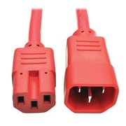Tripp Lite 6' IEC-320-C14 to IEC-320-C15 Male/Female Heavy-Duty Computer Power Cord, Red (P018-006-ARD)