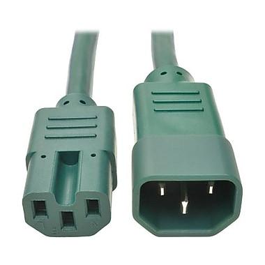 Tripp Lite IEC-320-C14 to IEC320C15 Male/Female Heavy-Duty Computer Power Cord, 6', Green (P018-006-AGN)