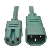 Tripp Lite 2' IEC-320-C14 to IEC-320-C15 Male/Female Heavy-Duty Computer Power Cord, Green (P018-002-AGN)