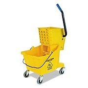 Flo-Pak Side-Press Bucket/wringer Combo, Yellow, 26qt, 18 1/2dia X 16 1/2w X 16 1/2h