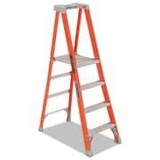 Louisville Fiberglass Pro Platform Step Ladder, 25w X 9 1/2d X 81 1/4h, 4-Step, Orange