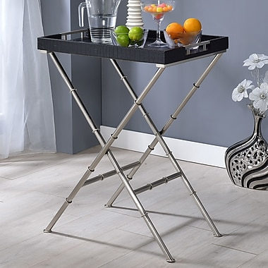ACME Furniture Lajos Tray Table; Black Crocodile