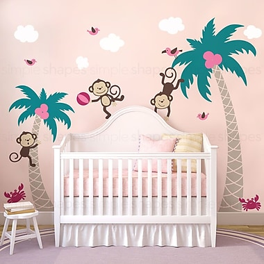 SimpleShapes 3 Monkeys w/ Palm Tree Wall Decal; Pink