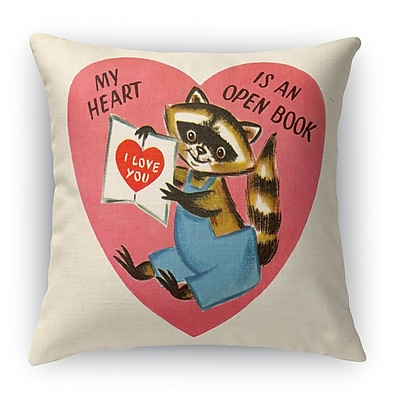 Kavka My Heart Is An Open Book Indoor Accent Pillow; 16'' H x 16'' W