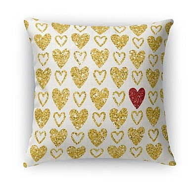 Kavka One Red Heart Indoor Throw Pillow; 18'' H x 18'' W