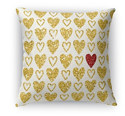 Kavka One Red Heart Indoor Accent Pillow; 16'' H x 16'' W
