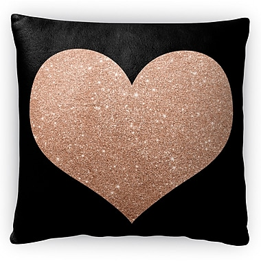 Kavka Heart Fleece Throw Pillow; 16'' H x 16'' W