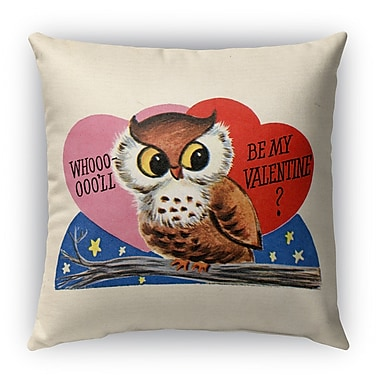 Kavka Be My Valentine Burlap Indoor/Outdoor Throw Pillow; 18'' H x 18'' W