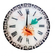A&J Homes Studio Dragonfly and Shell Decorative Glass 13.75'' Wall Clock