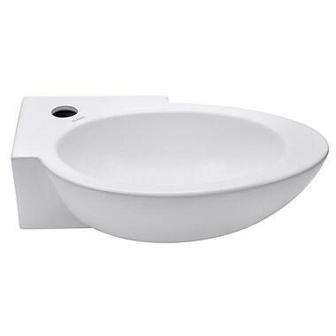Elanti Elite Wall Mounted Right Facing Oval Bathroom Sink