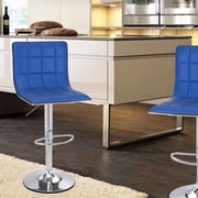 AdecoTrading Adjustable Height Swivel Bar Stool (Set of 2); Blue