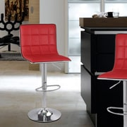 AdecoTrading Adjustable Height Swivel Bar Stool (Set of 2); Red